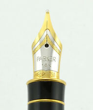 PARKER STERLING SILVER FOUGERE FOUNTAIN PEN FINE POINT 18K GOLD NIB NEW IN BOX
