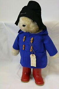 PADDINGTON BEAR 21'' Soft Toy With Blue Coat Black Hat Red Wellies Vintage (DT)