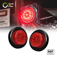 2pc 2-Inch DOT Red Round Trailer LED Marker Lights w/ Grommet for Truck