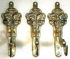 Brass Serpent Hook Wall Hooks Antique  for Oil Lamp or Hat Set of 3
