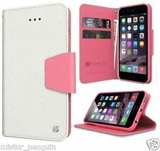 Apple IPHONE 6 White Pink Leather TPU Wallet Cell Phone Flip Case Card Holder