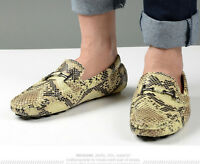 new mens snakeskin moccasin-gommino driving loafers casual slip on boat shoes sz