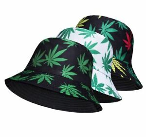 Rasta Kush Cannabis Weed Leaf Bucket Hat Cap Jamaica Reggae Marijuana Blunt Hat