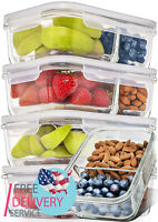 [5 Pack] Glass Meal Prep Containers 2 Compartment Lids Divided Lunch Container