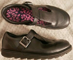 CLARKS PENNY SO BLACK LEATHER MARY JANE FLAT SHOES SIZE 4.5 F E37.5 SCHOOL GOTH.