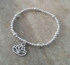 Silver Lotus Flower Charm Stretch Bracelet Beaded Yoga Meditation Good Luck gift