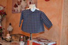 chemise  bonpoint 6 mois carreaux bleu deux tons poche col mao