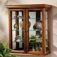 Wall Mounted Curio Cabinet Glass Shelf Mirror Collectible Display Free Standing