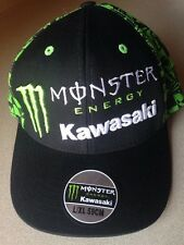 Kawasaki Monster Energy Fitted Baseball Cap Hat Black L / XL 59CM