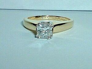 18K YELLOW GOLD & PLATINUM RADIANT CUT 0.61 CT DIAMOND ENGAGEMENT RING