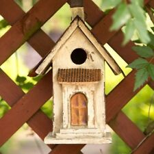 "Glitzhome 13"" Tall Church Hand Painted Wood Birdhouse Hanging Bird Nesting Cage"