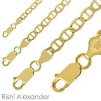 14k Gold over 925 Sterling Silver Mariner Mens Boys Chain Bracelet or Necklace
