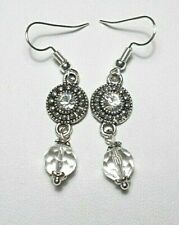 Dangle earrings - Tibetan silver + glass beads, 50mm long