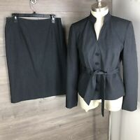 Calvin Klein Women's Size 6 Skirt Suit Two Piece Gray Belted Blazer Button Up