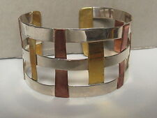 VINT STELING SILVER COPPER BRASS RLM STUDIO ROBERT LEE MORRIS HAND MADE BRACELET