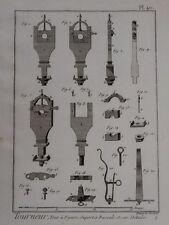 vintage print WOOD TURNING machine SUPPORT Tourneur Pl 40 Benard Diderot? c1800