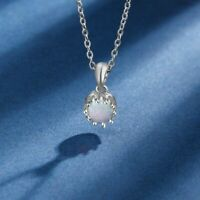 Women Necklace Flower Pendant Round White Opal Stone 925 Sterling Silver Jewelry