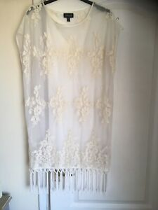 Topshop Cream Netted Beach Cover Up Dress Size UK M