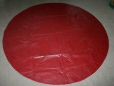 "Red with Design 70"" Circle Felt Backed Vinyl Tablecloth Christmas or Year around"
