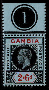 GAMBIA GV SG100, 2s 6d black & red/blue, LH MINT. CONTROL