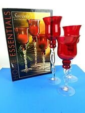 HomeEssenials Sorrento Three(3) Hurricanes Candle Holder Glass Twisted Stem Red