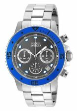 Invicta 21886 Pro Diver Chronograph Grey Dial Blue Bezel S/S Bracelet Mens Watch