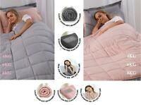 ADULT/CHILD PINK GREY WEIGHTED BLANKET SOFT SENSORY SLEEP THERAPY ANXIETY