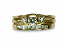 REDUCED 14k Yellow Gold .6ct Diamond Engagement Baguette 3 Ring Bridal #299080