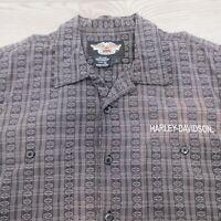 Harley Davidson Men's Shirt Size Large HD Logo Pattern Gray Black
