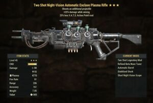 Two Shot Vats Cost Enclave Plasma Rifle ⭐️⭐️⭐️ Fallout 76 PS4