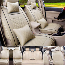 Beige Car Seat Cover 5-Seats Front & Rear PU Leather Cushion All Season W/Pillow