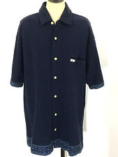Tommy Hilfiger Surf Co Hawaiian Button Down Pocket Blue Polo Shirt Mens Medium M