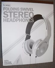 Brand New VIBE FOLDING SWIVEL STEREO HEADPHONES with VOLUME CONTROL White Color