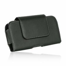 HTC One A9 Aero ~ Horizontal Leather Pouch Case Holster Belt Clip - Swivel Black