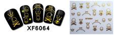 Nagelsticker  Fingernägel Aufkleber Tattoo Nail Art Skull gold XF 6064