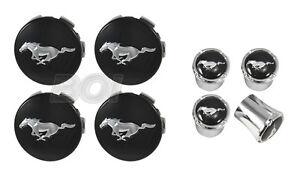 2015-2021 Mustang Chrome Running Horse Pony Wheel Center Caps & Valve Stem Caps
