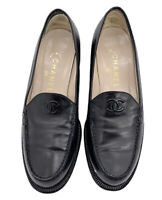 Chanel Authentic Vintage 90s CC Logo Classic Loafer Flat Black Leather 38.5 US 8