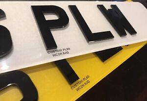 3D 4D Number Plates Road Legal Raised Acrylic Gloss Black Laser Cut Front & Rear