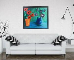 FLOWERS COLORFUL Painting by SWARTZMILLER  DNA SIGNED Art  BIG FRAMED CANVAS COA