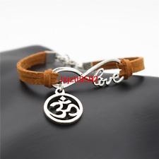 Handmade Beautiful Love Infinity OM Symbol Yoga Charms Leather Bracelet (SL775)
