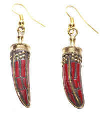 Daring Dagger- Gorgeous Deep Red Stone & Sublime Gold Dot Detail Earrings(Ns9)