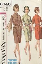 Vtg Simplicity 6040 Pattern Miss 20 60s ButtonFront Dress Mandarin Collar Uncut