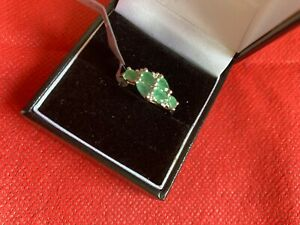 Gems Tv Carnailba Emerald & white Topaz sterling silver ring brand new with tag