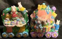 Vintage Easter Resin Decor Bunny Houses