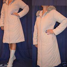Women Beige Casual Winter Hooded Coat quilted Zipped Lightweight Fluid Size 14