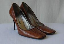 DOLCE & GABBANA Brown OSTRICH High Heel Pump 7.5-37.5