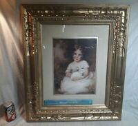 "Vintage ANNIE BENSON ""Girl and Rabbit"" Art Print Wall Decor NICE Wood Frame"