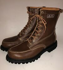 VTG BROWN LEATHER KINNEY MOC TOE LACE UP ENGINEER WORK BOOTS SZ 11 E YEAR ROUND
