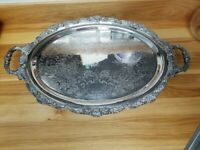 Silverplate, Unmarked, Ornate, Footed, Oval Serving Tray Platter W/Handles