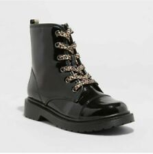Cat & Jack Nikkia GIRLS Black Patent Leather Combat Fashion Boots - Size 4 - NEW